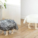 Animal Stool Four Legged Chair Furry Cover And Tail The