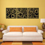 Art Deco Circle Panels Wall Decal Sticker Graphic Each Panel Measures