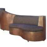 Art Deco Double Sided Copper And Wood Upholstered Sofa Stdibs