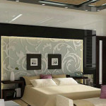Art Nouveau Style Bedroom Silk Back Paneling Over Etched Glass