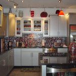 Backsplash Counter And Cabinets Mosaic Tile Glass