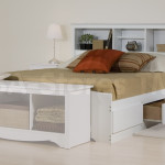Bed Bookcase Headboard White Beds Wbd Wsh