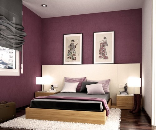 Bedrooms Modern Bedroom Purple Color Furniture