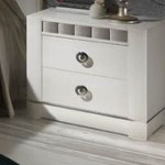 Bedside Tables Drawers White Lacquered Silver Details