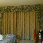 Behind Curtains Sliding Glass Door Leading Patio And Scenic