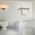 Beveled Subway Tile White Bathroom