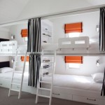 Black And White Bunk Beds For Four Orange Drapes Striped