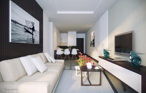 Black And White Modern Living Space