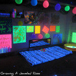 Black Light Themed Party For Growing Jeweled Rose