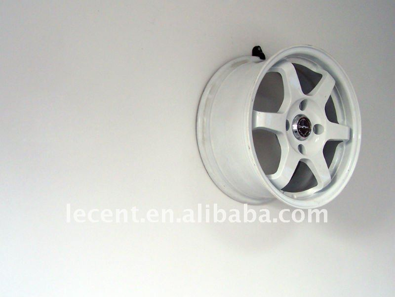Black Wall Mounted Plastic Wheel Rim Display Hook View