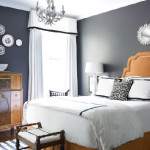 Blue Gray Perfectly Compliments These Warm Wood Tones And Orange