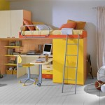 Boys Room Bunk Bed Workspace Orange And Yellow