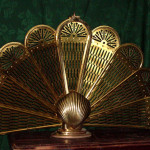 Brass Peacock Fireplace Screen Folds And Locks Place Fans Out