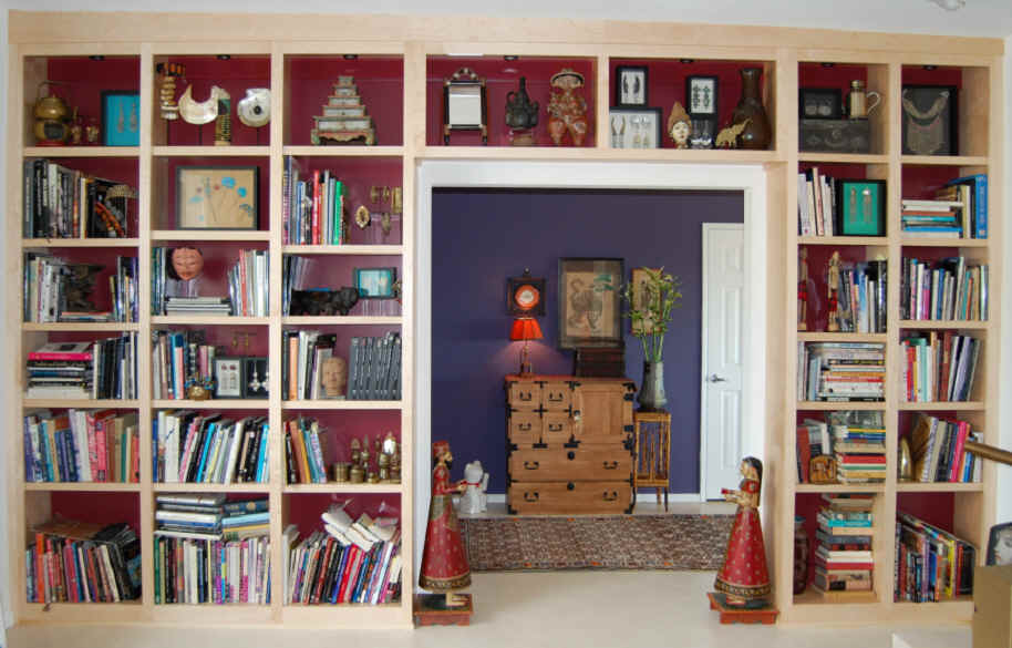 Built Bookshelves Red Back Match Existingopposite Wall