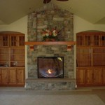 Built Stone Chimney And Fireplace Face Installed Gas