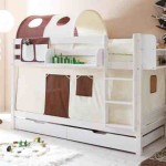 Bunk Bed White Wood Storage Box Drawers Tunnel Tents Beds