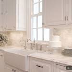 Calacatta Gold Subway Backsplash Tile Beige Kitchen Countertop