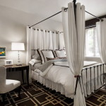 Canopy Bed And White Curtains Small Bedroom Decorating Ideas Using