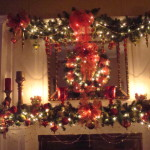 Christmas Decorations For Red And Gold Mantel