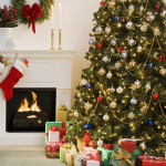 Christmas Tree Presents And Fireplace Stockings