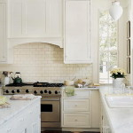 Classic Subway Tiles Backsplash White Kitchen Cabinets Design The Most