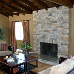 Comfortable Home Design Sleek Stone Fireplace