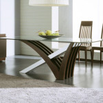 Contemporary Dining Table Wooden Glasses Combination Material
