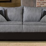 Contemporary Double Sided Dacron Upholstered Sofa Grey Black