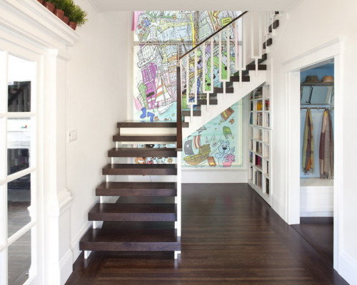 Contemporary Entry Colorful Wall Murals Mural Ideas