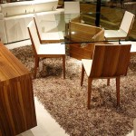 Contemporary Glass Top Dining Tables Wood Base