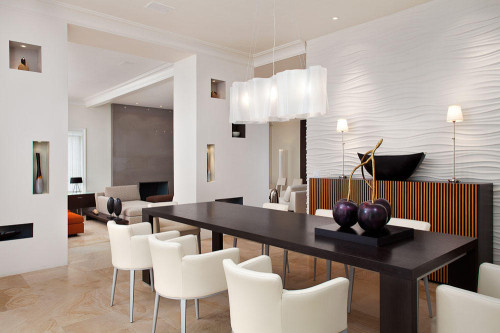 Contemporary Minimalist Cool Dining Room Lighting Design Interior