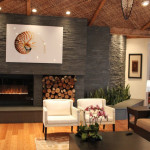 Contemporary Natural Stone Fireplace Modern Living Room