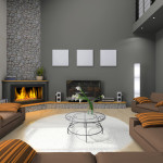 Corner Fireplace Modern Home