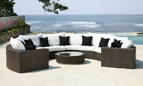 Crescent Sectional Sofa Coffee Table Wicked Wicker Furnitures