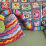 Crochet Snake Throw Blanket And Pillow For Home Decorating