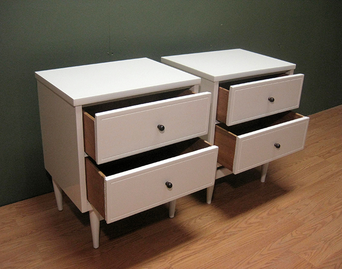 Danish Modern Mid Century Lacquered Night Stands