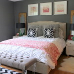 Dark Grey Wall Color Scheme And Pink White Bedding Sets Eclectic