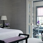 Dark Grey Wall Color Scheme White And Purple Beds Small