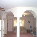 Decorative Columns Separate The Living Room From Dining