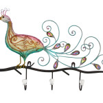 Decorative Metal And Crystal Peacock Coat Hooks
