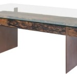 Dining Table Glass Top Wood Metal Base Contemporary Tables