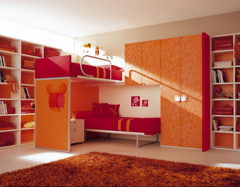 Double Loft Beds For Girls Bedroom Design Ideas Red