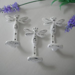 Dragonfly Wall Hooks Trio White Shabby Chic Clothing Jewelry