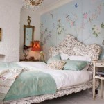 Feminine And Chic Bedroom Design Soft Colors Floral Wall