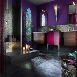 Feminine Bathroom Decor Dark Violet Painting Ideas