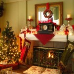 Fireplace Christmas White Colors