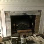 Fireplace Mantle Cover Ugly Brick Traditional Living Room