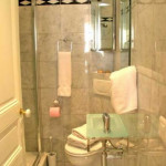 First Bathroom Glass Enclosed Shower Toilet And Sink