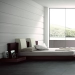 Floating Platform Bed Shown Beige Headboard Pillows And Optional
