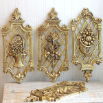 Four Seasons Vintage Wall Hanging Gold Syroco Flowers Hollywood